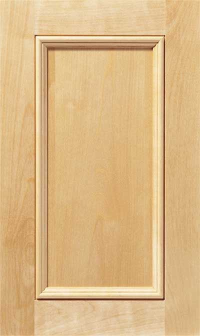 Laguna cabinet door. Square flat panel with a simple 2-step inside edge and a squared outside edge.