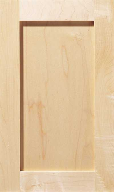 Shaker cabinet door. A square flat panel door with a simple, squared inside and outside edge.