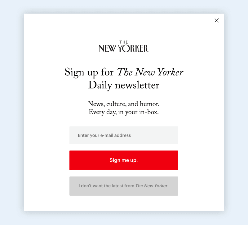 Best visually appealing Newsletter signup popup