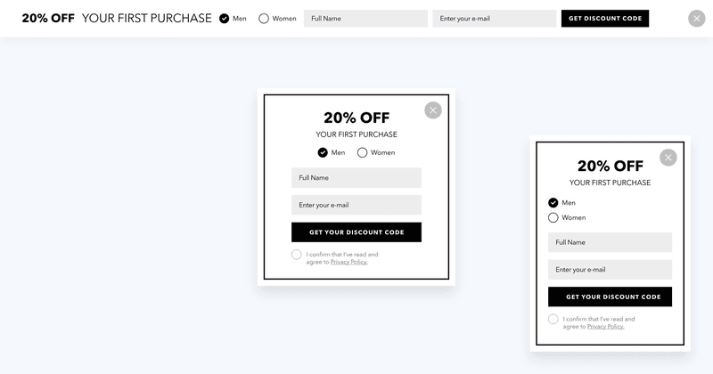 High converting discount popups