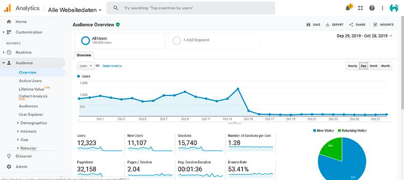 Google Analytics traffic overview