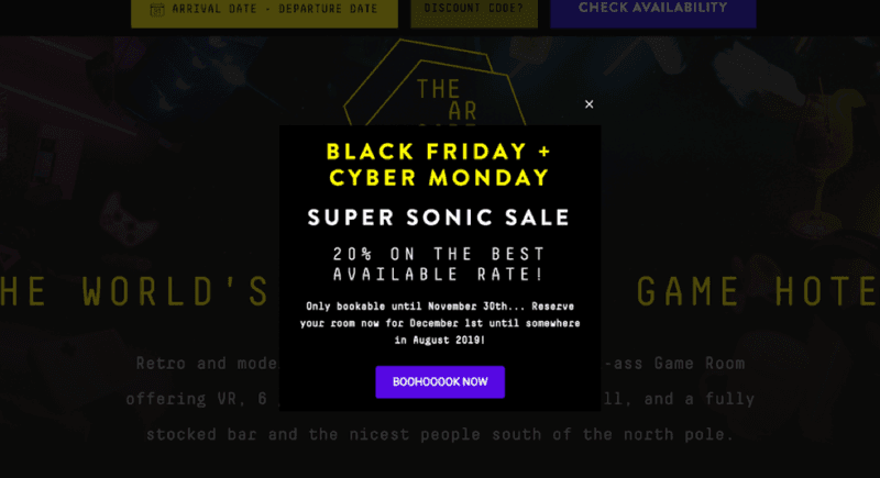 Black Friday & Cyber Monday sale at The Arcade Hotel