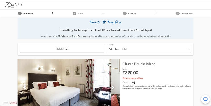 A personalised message is shown on the website to travellers from the UK