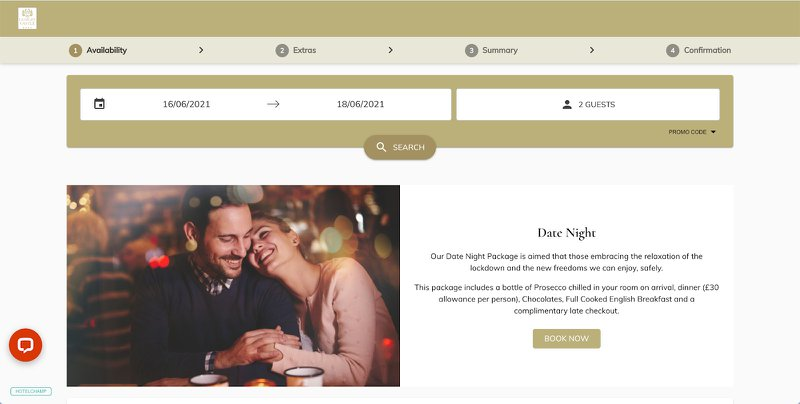 A date night package is shown when 2 guests are selected in the booking engine