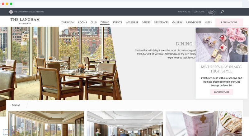 A Mothers Day afternoon tea is promoted on a hotel website