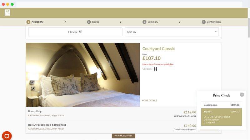 A price comparison on a website
