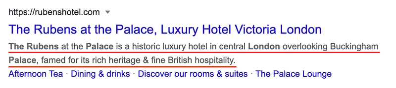 """A SEO description of a hotel. """"The Rubens at the Palace is a historic luxury hotel in central London overlooking Buckingham Palace, famed for its rich heritage & fine British hospitality."""""""