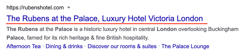 """A SEO title for a hotel. """"The Rubens at The Palace, Luxury Hotel Victoria London"""""""