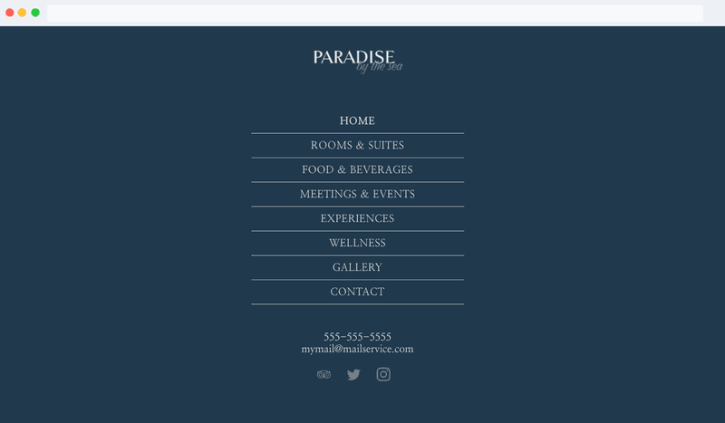 An example of a navigation menu in a Hotelchamp eCommerce template