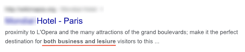 """A Google listing of a hotel in Paris. It includes """"both business and leisure"""" visitors."""