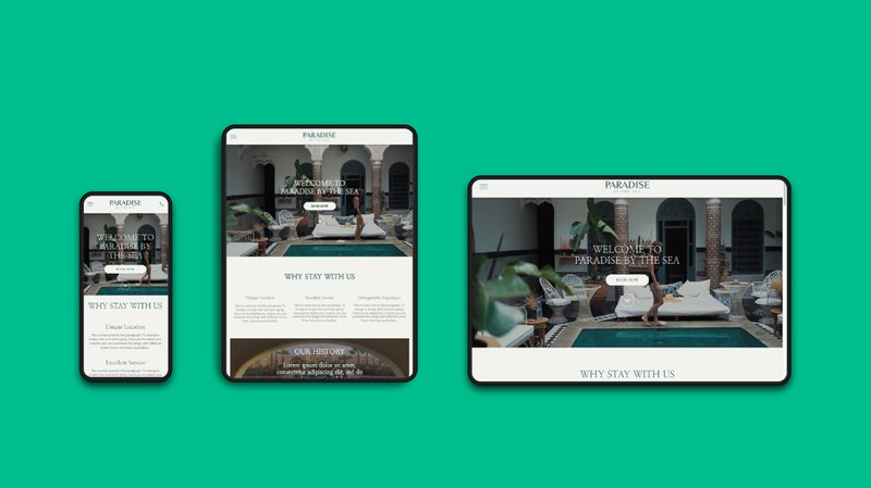 A hotel website on multiple devices