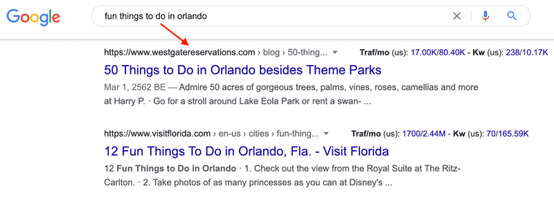 Fun things to do in Orlando Google search