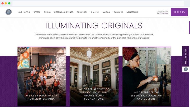 Provenance Hotels website