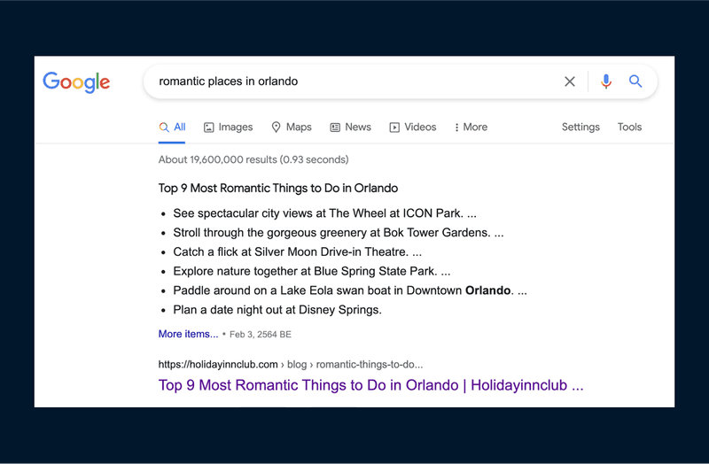 A Google Search of romantic places in Orlando