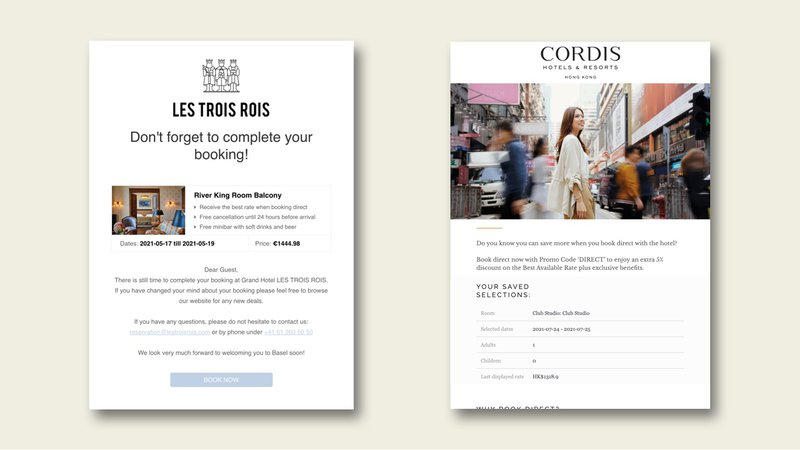 Saved search email examples for Les Trois Rois and Cordis Hong Kong