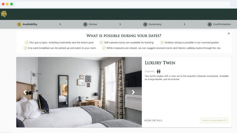 A hotel booking engine shows different messages based on the season