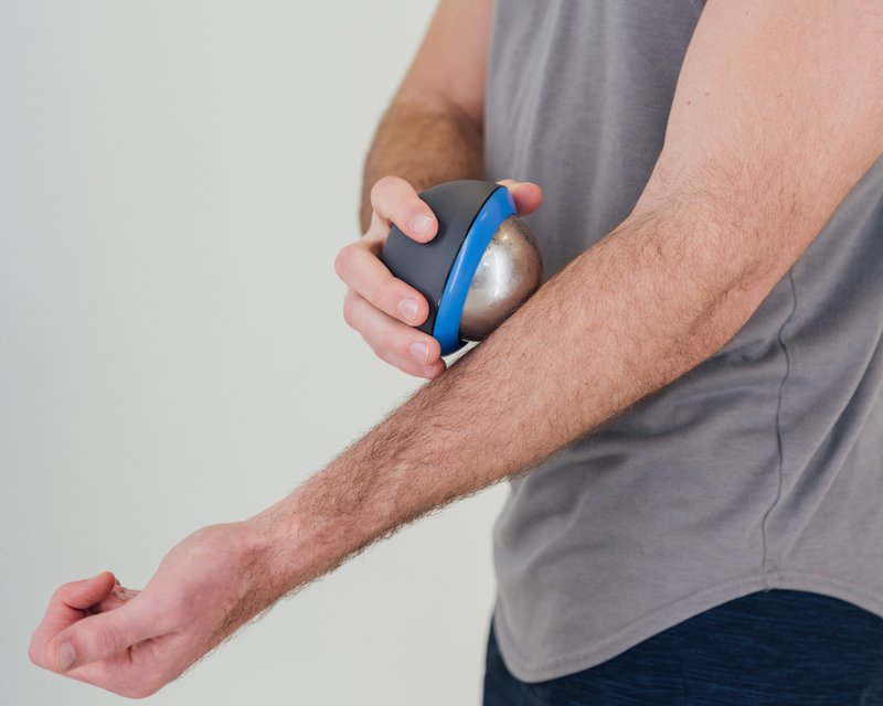 Recoup cryosphere being used on the forearm for tennis elbow