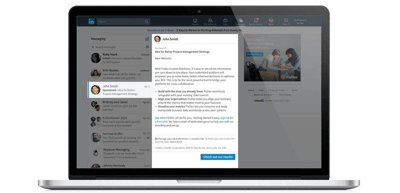 LinkedIn sponsored inmail example