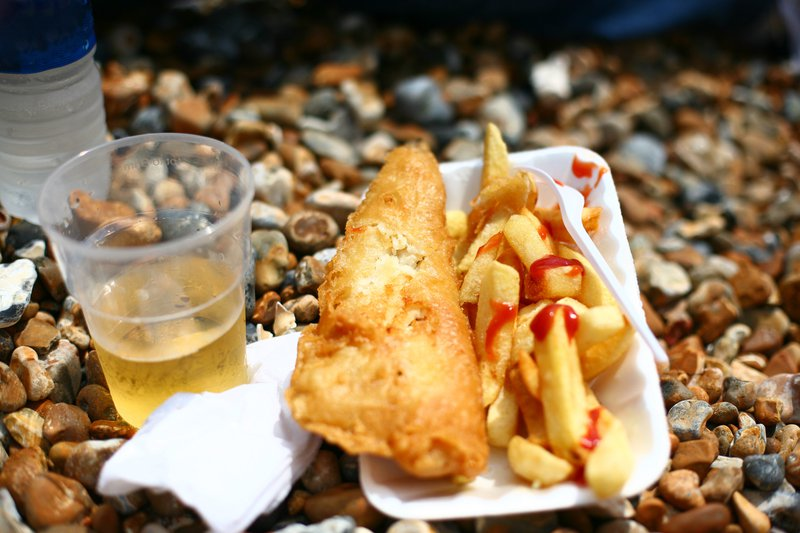 Fish and chips on a shingle beach