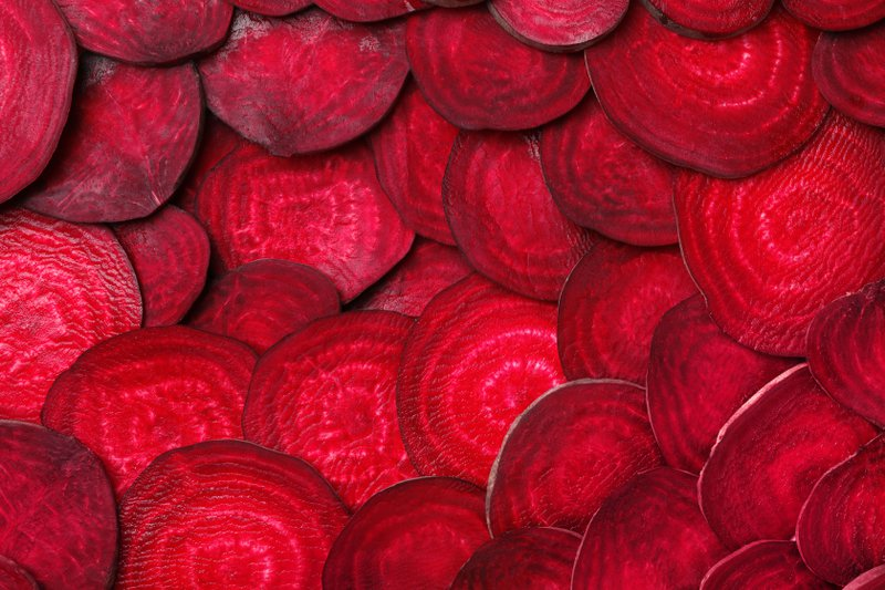 Sliced beetroot ready for a Scottish recipe