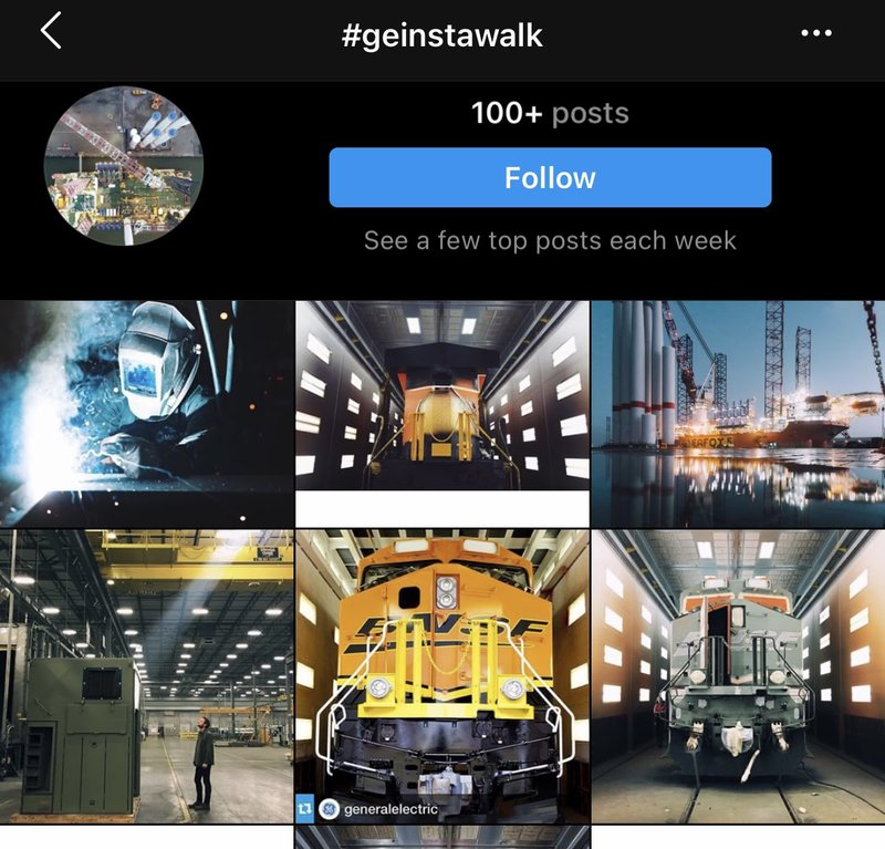 GE creates great content marketing examples in their Instagram feed