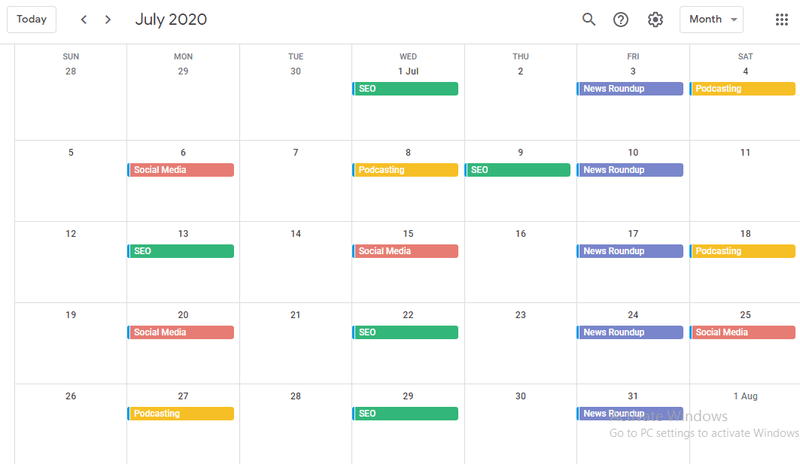 Content Calendars help you plan content roll out