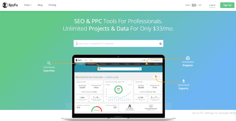 SpyFu marketing tool