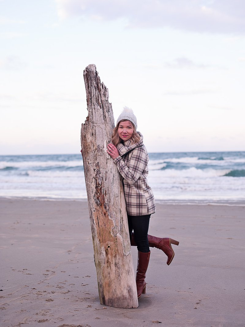 beautiful girl portrait on windy winter beach wexford