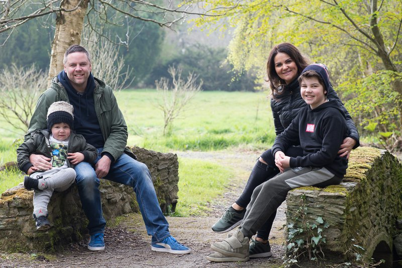Family posing for a portrait in Kennedy Park Wexford