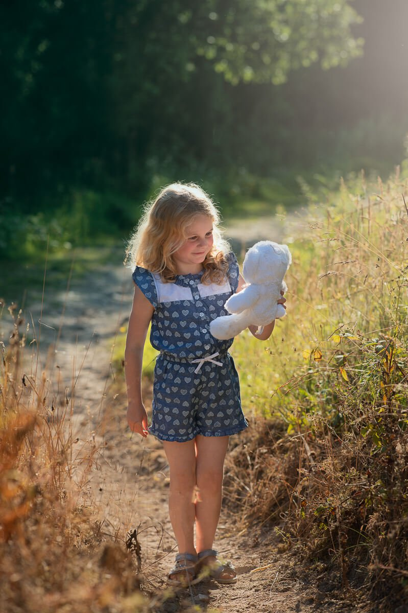girl with teddy bear on Forth Mountain Wexford for a family photo