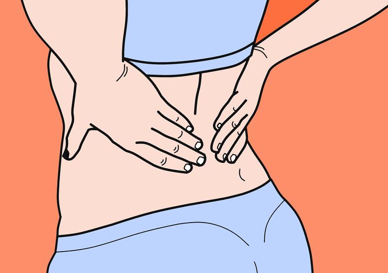 illustration of woman holding back pain