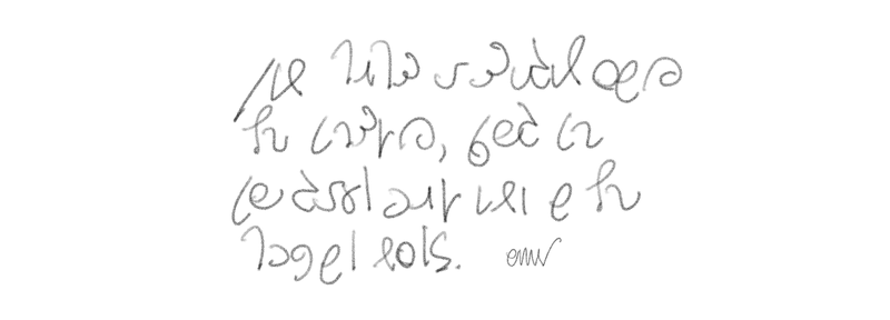 Four lines of handwritten secret code symbols in the Second Shaw script.