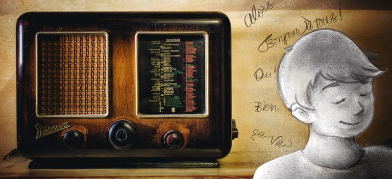 Old style radio with French language words and cartoon person listening.