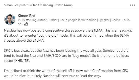 Simon Ree LinkedIn Post on stock market re-entering buy mode