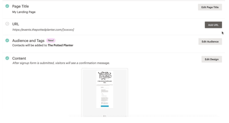 MailChimp: landing page builder