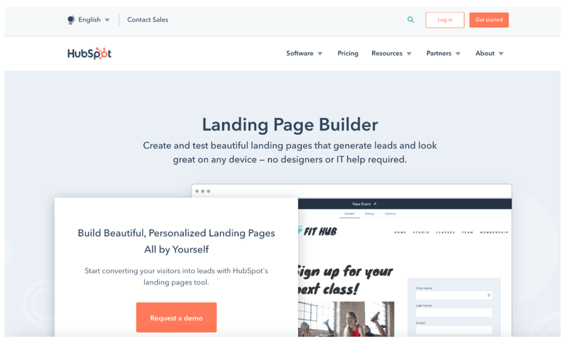 HubSpot: landing page builder