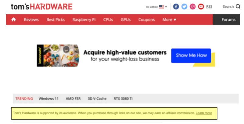 Comparison Websites for affiliate marketing