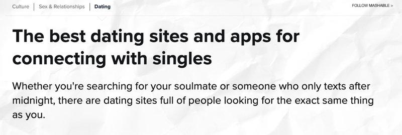 Mashable Online Dating