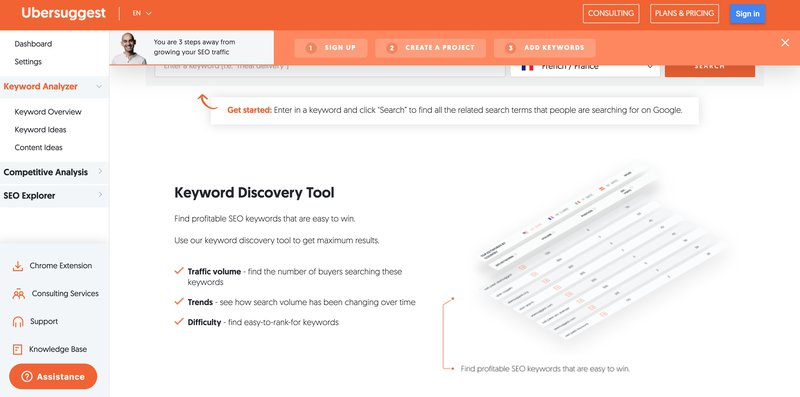 ubber suggest keyword discovery tool