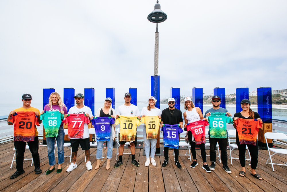 SAN CLEMENTE, CALIFORNIA, USA - SEPTEMBER 7: The Top 10 Finalists at the press conference prior to the commencement of the Rip Curl WSL Finals on September 7, 2021 at Lower Trestles, San Clemente, California. (Photo by Thiago Diz/World Surf League)