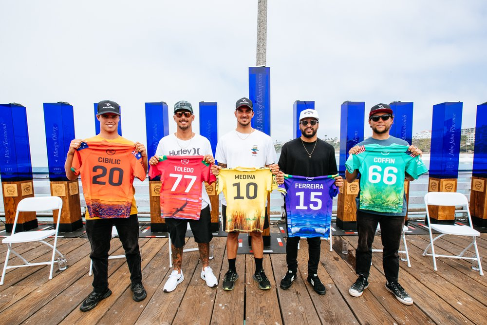 SAN CLEMENTE, CALIFORNIA, USA - SEPTEMBER 7: The Top 5 Men Finalists at the press conference prior to the commencement of the Rip Curl WSL Finals on September 7, 2021 at Lower Trestles, San Clemente, California. (Photo by Thiago Diz/World Surf League)