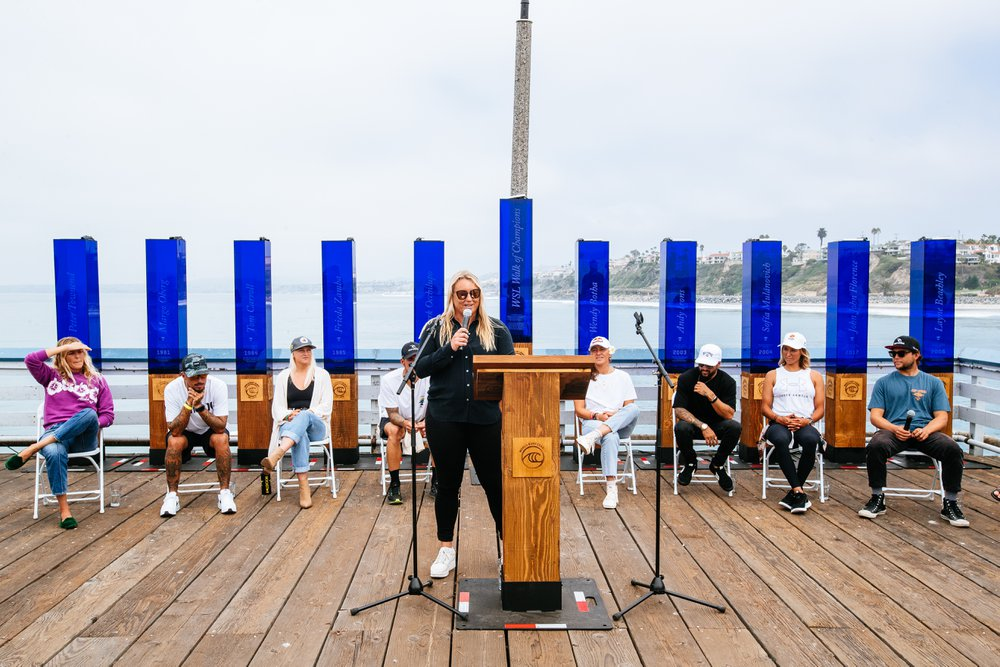 SAN CLEMENTE, CALIFORNIA, USA - SEPTEMBER 7: WSL's Head Of Competition Jessi Miley-Dyer at the press conference prior to the commencement of the Rip Curl WSL Finals on September 7, 2021 at Lower Trestles, San Clemente, California. (Photo by Thiago Diz/World Surf League)