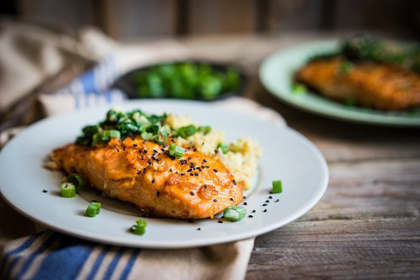 Omega 3 rich foods like salmon help lower inflammation.