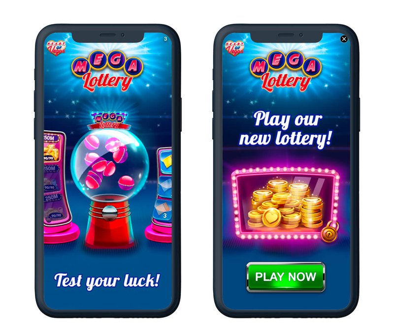 Two phone screens side by side showing social casino games, both say MEGA Lottery; To the left a gumball machine with Test your luck at the bottom; to the right a pile of gold coins framed with pink lights, text PLAY NOW at the bottom