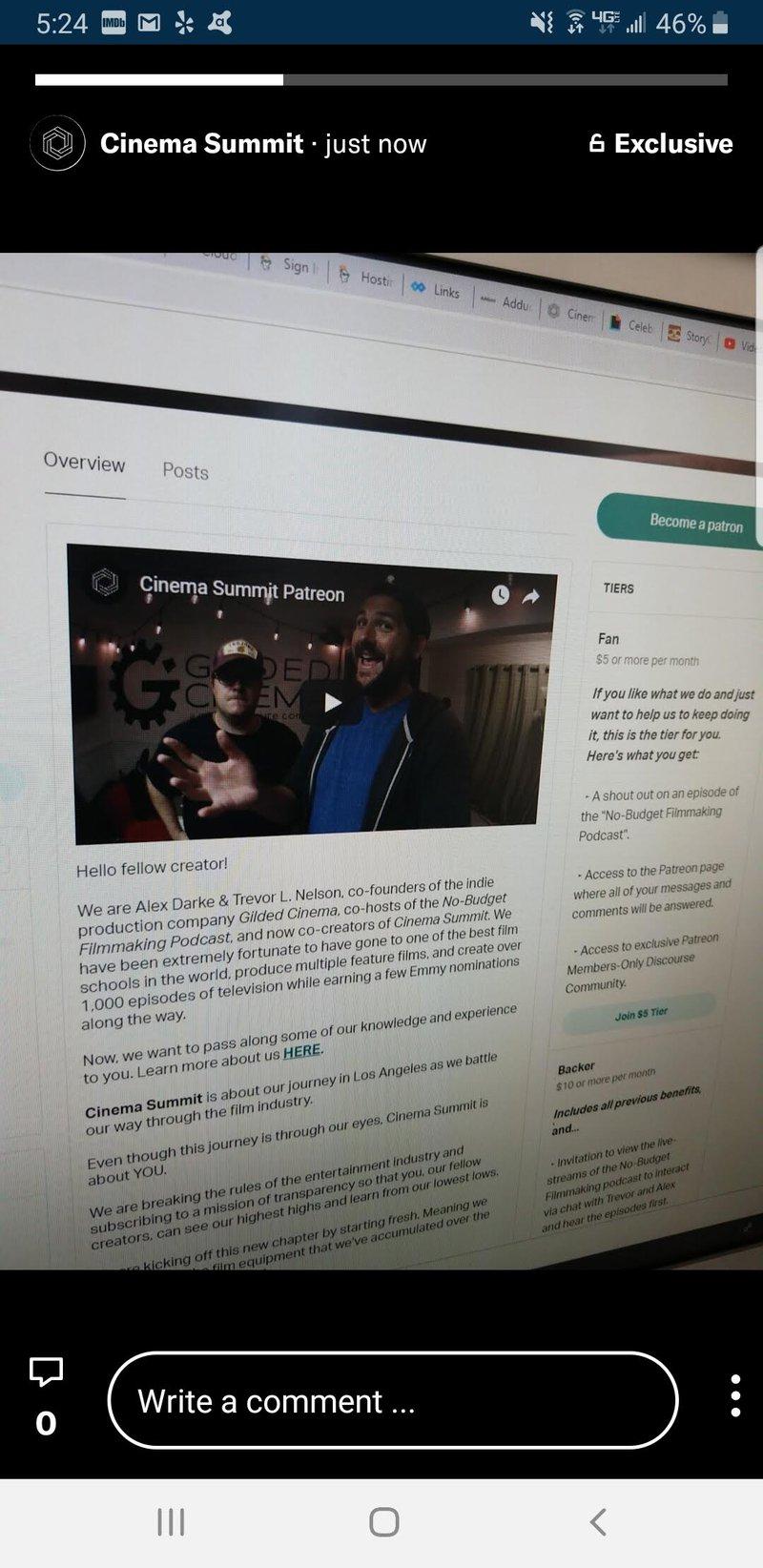 Cinema Summit Social Media Patreon Lens