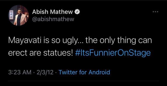 Comedian Abish Mathew Mayawati Tweet