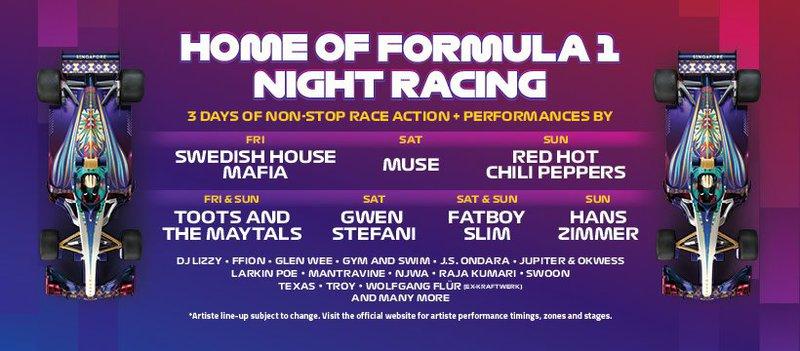 Singapore Formula 1 Grand Prix Lineup