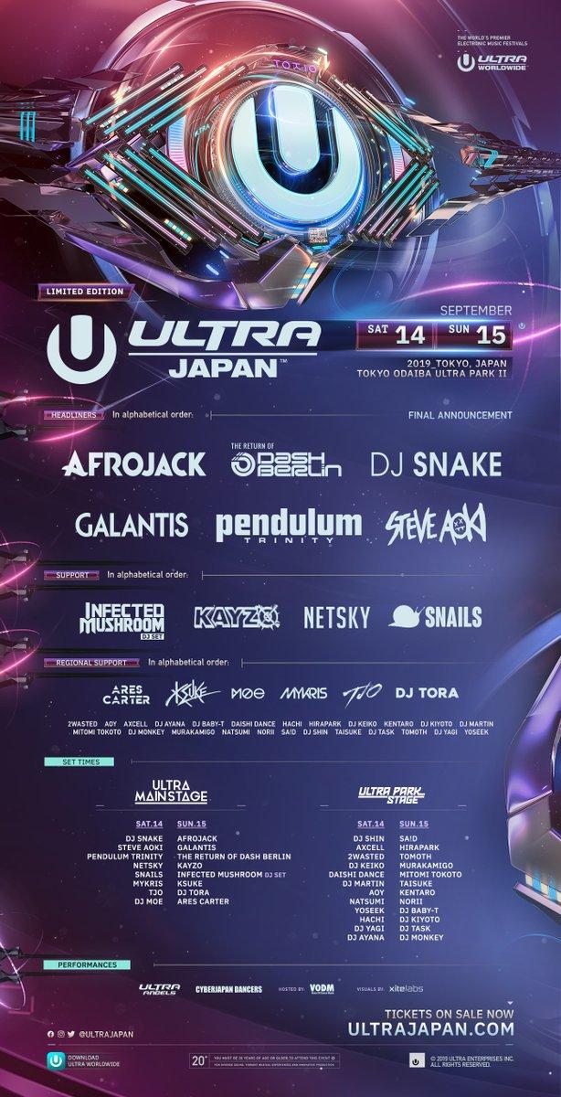 Ultra Japan 2019 Lineup Poster