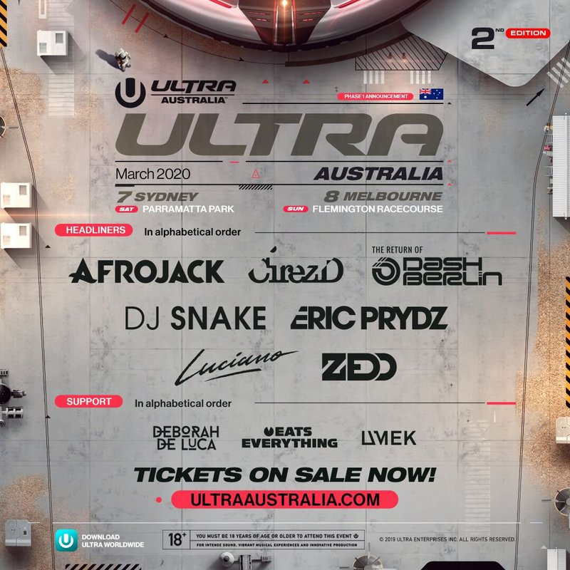 Ultra Australia 2020 Lineup Poster