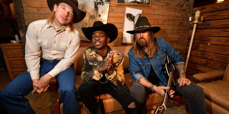 Diplo with Old Town Road singers Lil Nas X and Billy Ray Cyrus